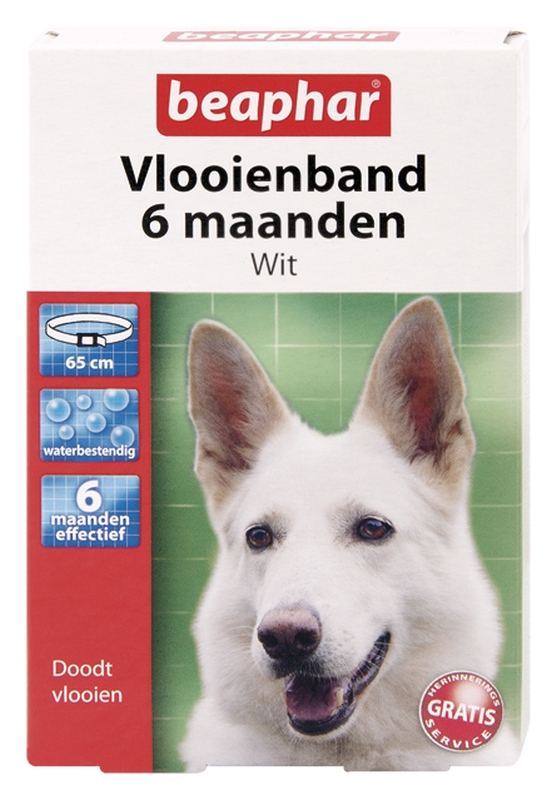 Vlooienband hond wit