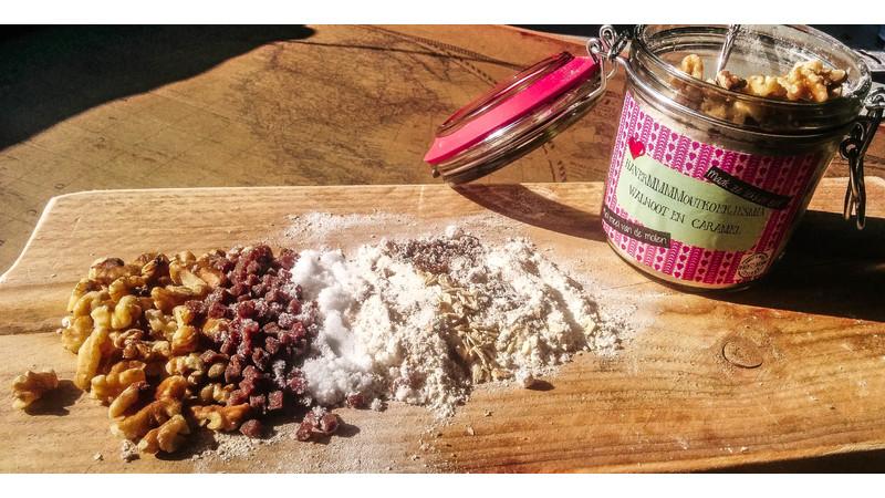 Havermmmmoutkoekjesmix (walnoot en caramel)