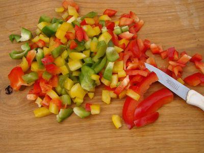 Paprika blokjes (250 gram)